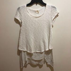 Meadow Rue Sz XS Anthropologie Ivory Short Sleeve